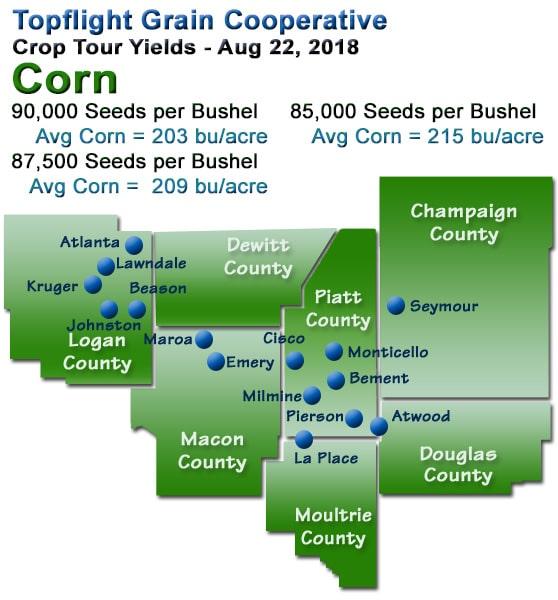 Topflight Crop Tour Map - 2018 Corn